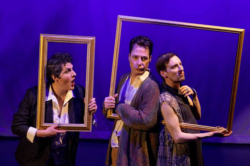 COURTESY PHOTO - Mandana Khoshnevisan, Norman Wilson and Phillip J. Berns play Dogberry, Benedick and Bertram in Bag&Baggage Productions' 'Much Ado About Nothing.'
