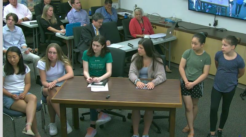COURTESY PHOTO: LAKE OSWEGO SCHOOL DISTRICT - iLoveLakeOswego members presenting at the June 18 school board meeting.
