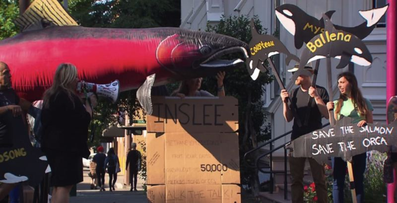 KOIN 6 NEWS - Protesters made their statement outside a recent Portland event featuring Gov. Jay Inslee of Washington state.