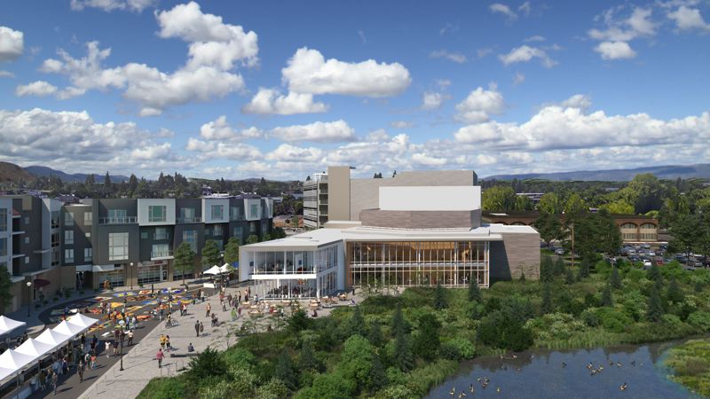 COURTESY BEAVERTON ARTS FOUNDATION - A view from Southwest Hall Boulevard of the proposed Patricia Reser Center for the Arts, which will receive $1.5 million from state bonds repaid by Oregon Lottery proceeds. The 2019 Legislature funded the grant for the Beaverton project in end-of-session action.