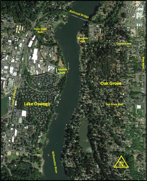 COURTESY GRAPHIC: CLACKAMAS COUNTY TRANSPORTATION PLANNING - The study area being reviewed for a potential bike/pedestrian bridge across the Willamette River.