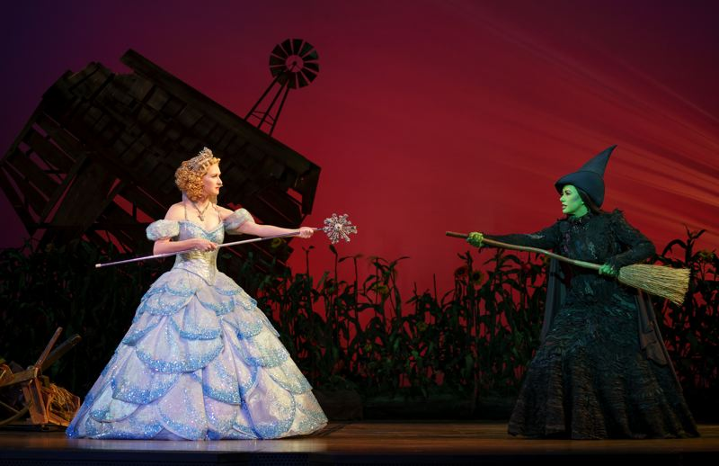 COURTESY: JOAN MARCUS - The 'Wicked' friendship and then rivalry of Glinda (above, left) and Elphaba takes place on a set designed years ago by Eugene Lee, who, notably, has worked on 'Saturday Night Live' since its inception. 'Wicked' tells the story of Land of Oz before, and after, Dorothy arrives.