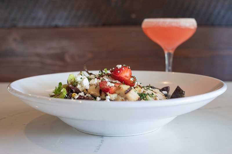 "PMG PHOTO: JONATHAN HOUSE - The Strawberry Chicken Salad and ""The Finn"" cocktail at Filberts Farmhouse Kitchen."