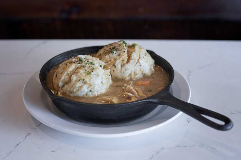 PMG PHOTO: JONATHAN HOUSE -  The Iron Skillet Chicken and Dumplings at Filberts Farmhouse Kitchen.