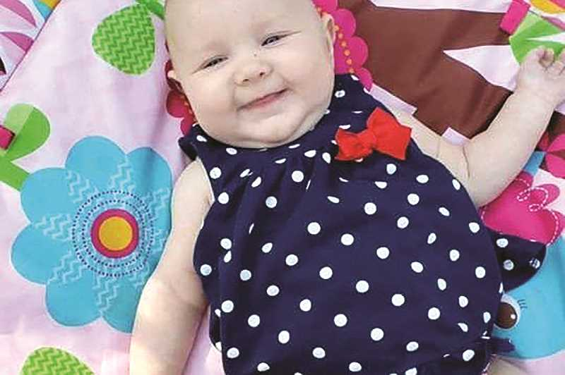 SUBMITTED PHOTO - A GoFundMe page for the family of 4-month-old Dawsyn, who died July 7, following a tragic accident July 6, at the Madras Speedway, has been set up to cover funeral expenses for the Oregon City baby.