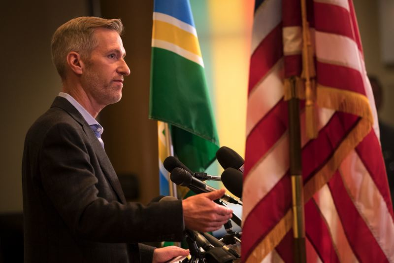 PMG PHOTO: JAIME VALDEZ - Portland Mayor Ted Wheeler condemned protest violence during a Monday, July 8, press conference at City Hall.