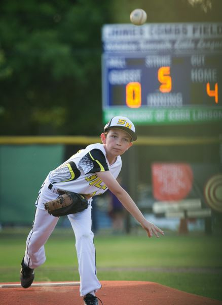 COURTESY PHOTO: JEREMY DUECK - Christian Rund pitches for St. Helens in the District 1 Little League Baseball age 8-10 all-stars tournament in Portland on the Wilshire Riverside field