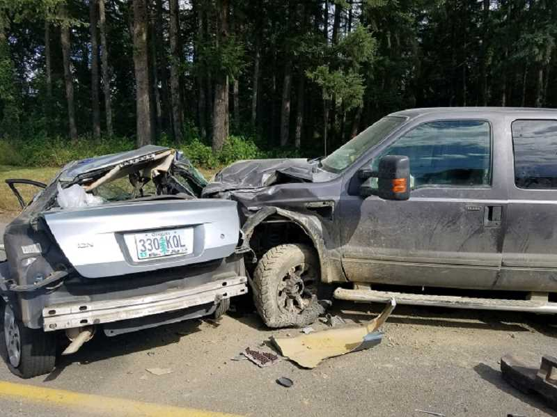 OREGON STATE POLICE - The aftermath of an accident on Thursday afternoon that took the life of a Beaverton man along Highway 211 near Molalla.