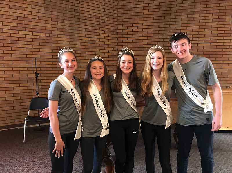 COURTESY PHOTO  - 2018 Old Time Fair Queen Sarah Talbert (center) with 2019 ambassadors (from left) Isabella Renouf, Bella Villarreal-Poche, Avery Mickey and Noah Eddy.