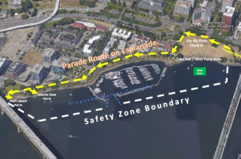 COURTESY: HUMAN ACCESS PROJECT  - The route floaters and paraders take at the annual Big Float on Portland's Waterfront.