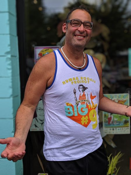 PMG: PORTLAND TRIBUNE  - Big Float and Human Access Project organizer Willie Levenson outside his wife's store Popina Swimwear.