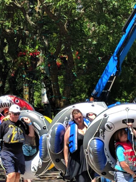 PMG: JOSEPH GALLIVAN  - Floaters parading to the starting point at the Big Float in 2018. The fundraiser for the Human Access Project gets bigger every year by most metrics.