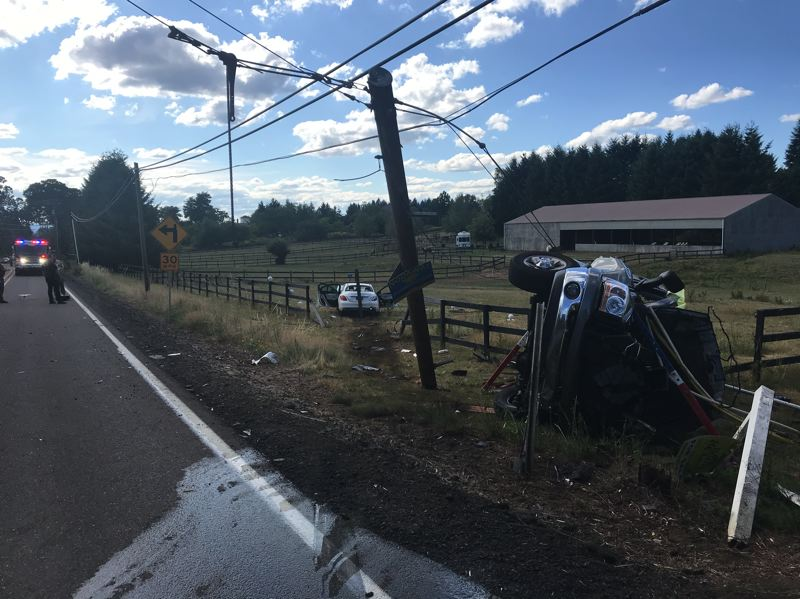 CCSO PHOTO - The Clackamas County Sheriff's Office said one person died at the scene of a two-car crash near Stafford and Newland roads on July 12.