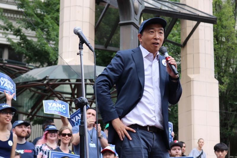 PMG PHOTO: ZANE SPARLING - Democratic presidential primary candidate Andrew Yang, 44, spoke to a crowd in Pioneer Courthouse Square on Friday, July 13, in Portland.