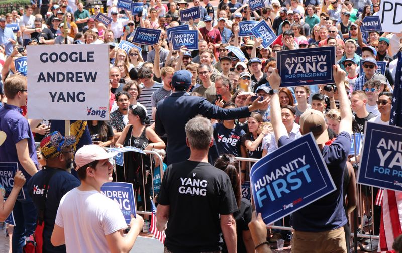 PMG PHOTO: ZANE SPARLING - Presidential candidate and private businessman Andrew Yang says his supporters include tech workers, libertarians, progressives and some who voted for President Donald Trump.