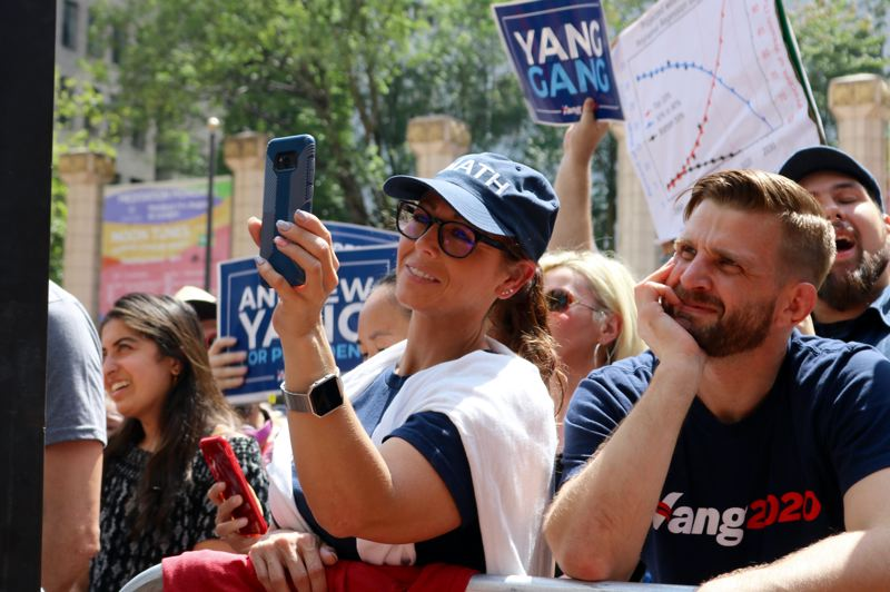 PMG PHOTO: ZANE SPARLING - Supporters of presidential candidate Andrew Yang cheered every time he uttered his catchphrase: 'I did the math.'