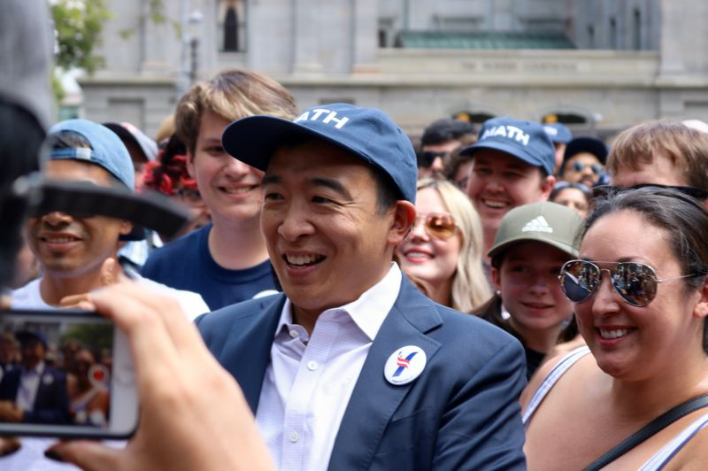 PMG PHOTO: ZANE SPARLING - After a speech running about 45 minutes long, Andrew Yang lingered to offer selfies to dozens of fans on Saturday, July 13.