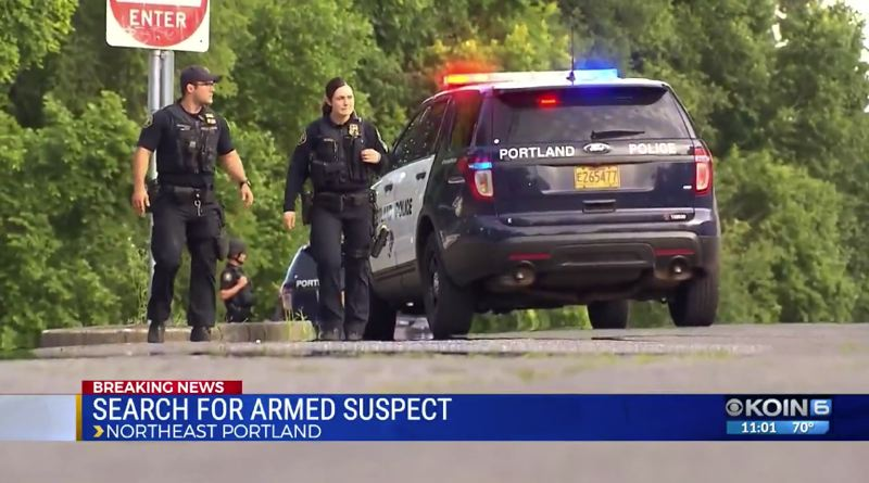 KOIN 6 NEWS - A screen shot of the KOIN 6 News story about the Saturday police search for an armed suspect.