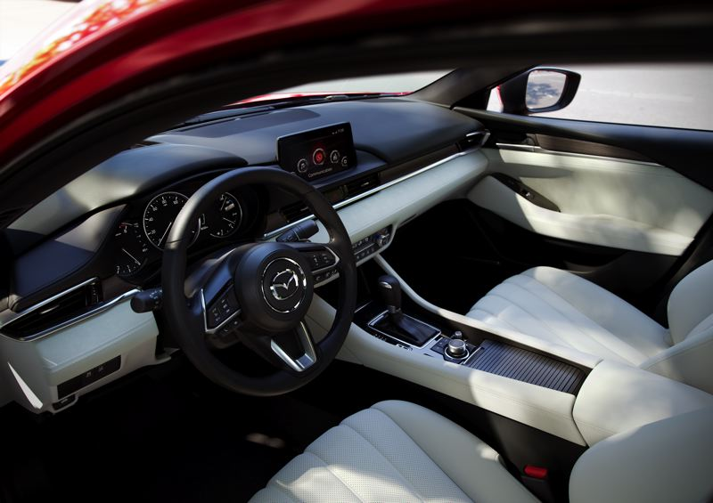 COURTESY MAZDA NORTH AMERICA - The interior design of the 2019 Mazda6 is refreshingly simple and clean. The materials are first rate, and Napa leather trimmed sport seats are available.