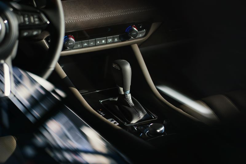 COURTESY MAZDA NORTH AMERICA - The knob located behind the shift lever controls the infortainment system. The switch to the left activates the Sport mode, which produces noticeable performance gains.