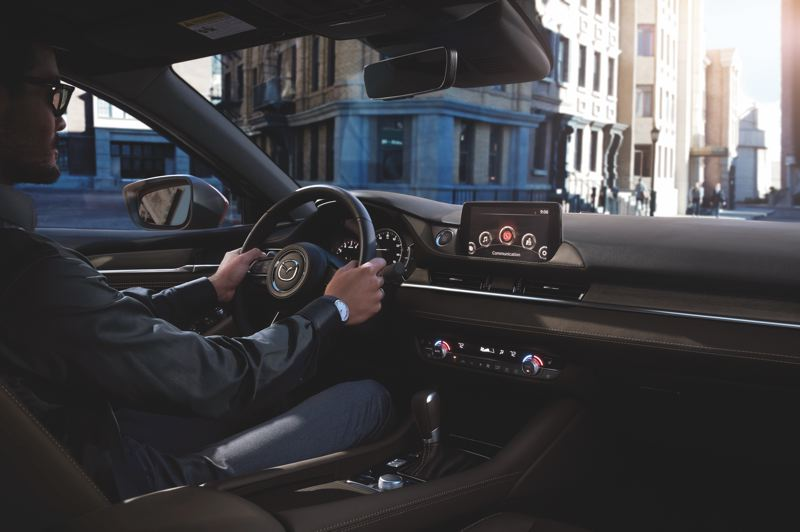 COURTESY MAZDA NORTH AMERICA - It is easy to see the upright infortainment screen in the 2019 Mazda6 without taking your eyes off the road too long.