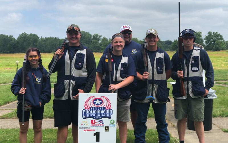 COURTESY PHOTO - The Canby High School trap shooting team of Issabella Berge, from left, Mat Eubanks, Tate Driver, coach Chuck McClaugherty (back) Danner Sullivan and Brandon Slater competed in nationals July 12-14 in Mason, Michigan.