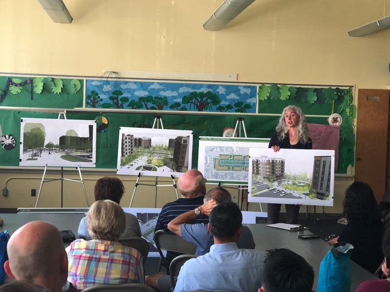 PMG PHOTO: STEPHANIE BASALYGA - Stacy Connery, a planner and project manager with Pacific Community Design, explains to attendees at a July 8 public meeting the details of 509-unit, mixed-use development that Urban Form Development is proposing to replace Cedar Hills Shopping Center.