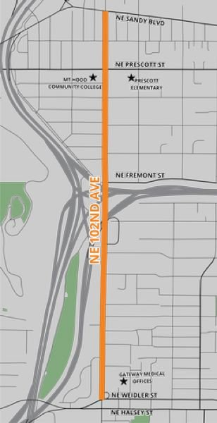 COURTESY ILLUSTRATION - A city map shows the work on Northeast 102nd Avenue that begins Monday, July 15.