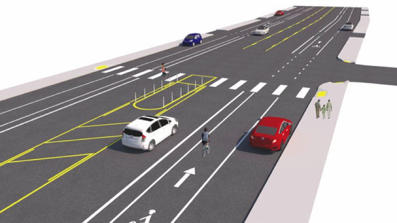 COURTESY ILLUSTRATION - A city project to improve Northeast 102nd Avenue includes new pedestrian crossings and better bike lanes.