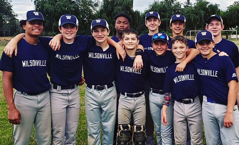 COURTESY PHOTO - The Wilsonville Senior American team, which won its fith straight league title this summer, included (left to right) Amari Hodges, Kallen Gutridge, Ryan Soderlund, Jay Rummell-West, D.J. Gillette, Bradley Keswick, Kellen Arthur, Gunner Gillette, Cooper Hiday, Gregory Keswick and Cooper Adams. Not pictured is Logan Miller.