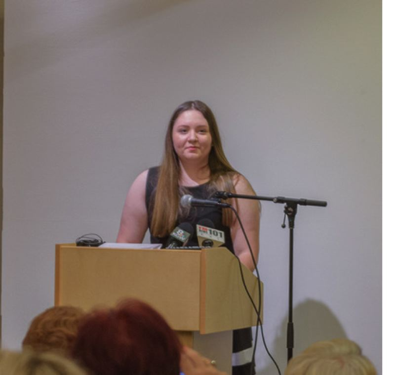 ANDIE PETKUS  - Lakeridge High School sophomore Claire Sarnowski talks about how a speech by Auschwitz Nazi concentration camp survivor Alter Weiner inspired her to push for mandatory holocaust and genocide education.