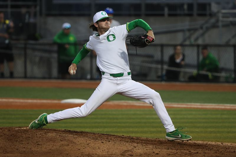 COURTESY PHOTO: ERIC EVANS/GODUCKS.COM - Ryne Nelson was a shortstop and pitcher for the Oregon Ducks, but the Arizona Diamondbacks are taking a look at their second-round draft pick as a pitcher for the Hillsboro Hops.