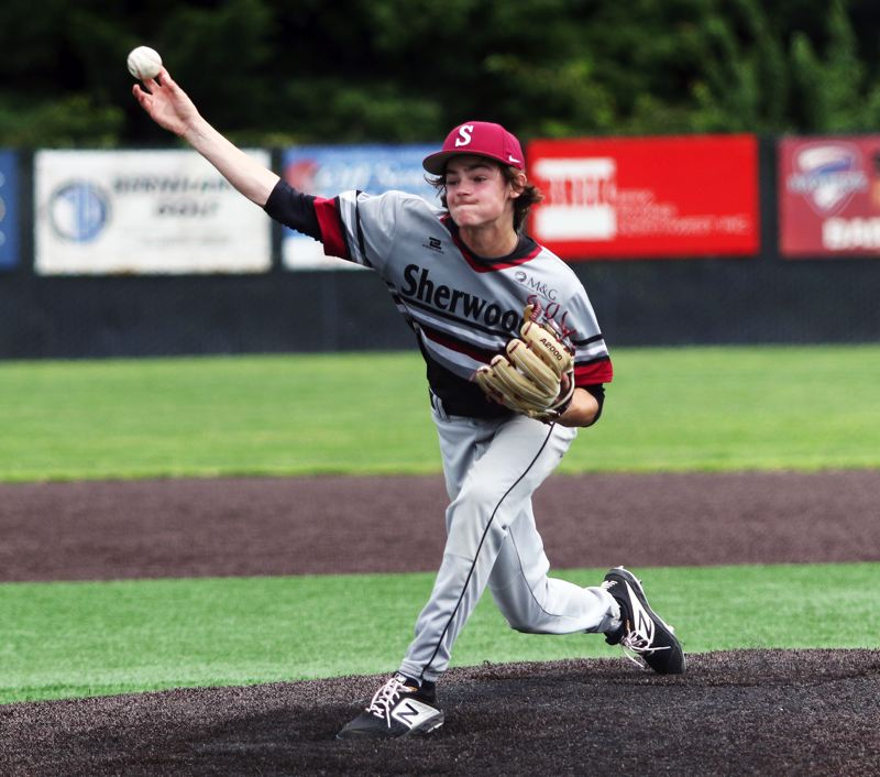 PMG PHOTO: DAN BROOD - Sherwood's Jack Fulwiler fires in a pitch during the Bowmen's game with Tualatin at the Clackamas Diamond Classic.