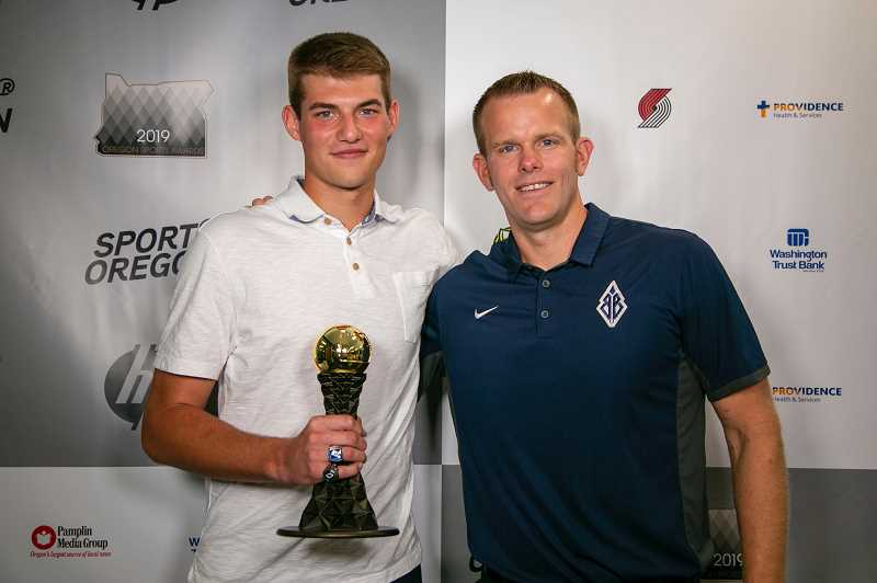 COURTESY PHOTO: OREGON SPORTS AWARDS - Banks' Blake Gobel poses for a photo with Banks head football coach Cole Linehan as part of the Oregon Sports Awards rollout July 9.