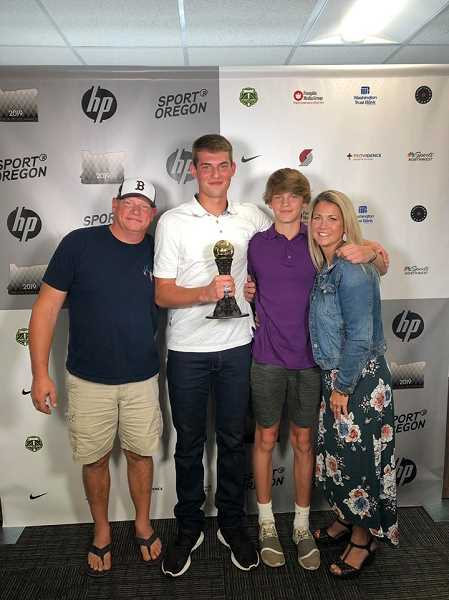 COURTESY PHOTO: OREGON SPORTS AWARDS - Banks' Blake Gobel poses for a photo with his family as part of the Oregon Sports Awards rollout July 9.
