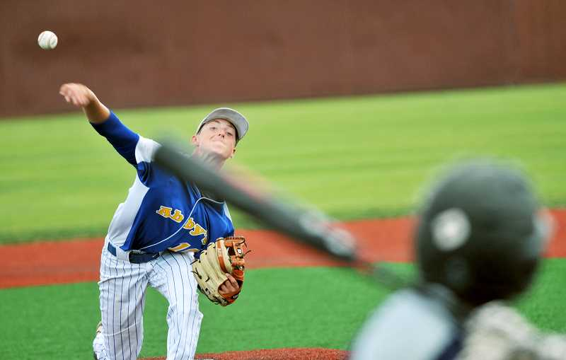 GRAPHIC PHOTO: GARY ALLEN - Jacob Fitch was among the Newberg pitchers who put in a quality performance over the weekend, playing a key role in the 5-1 victory over Southridge on Friday in the first game of the Hydro Dental Tournament.