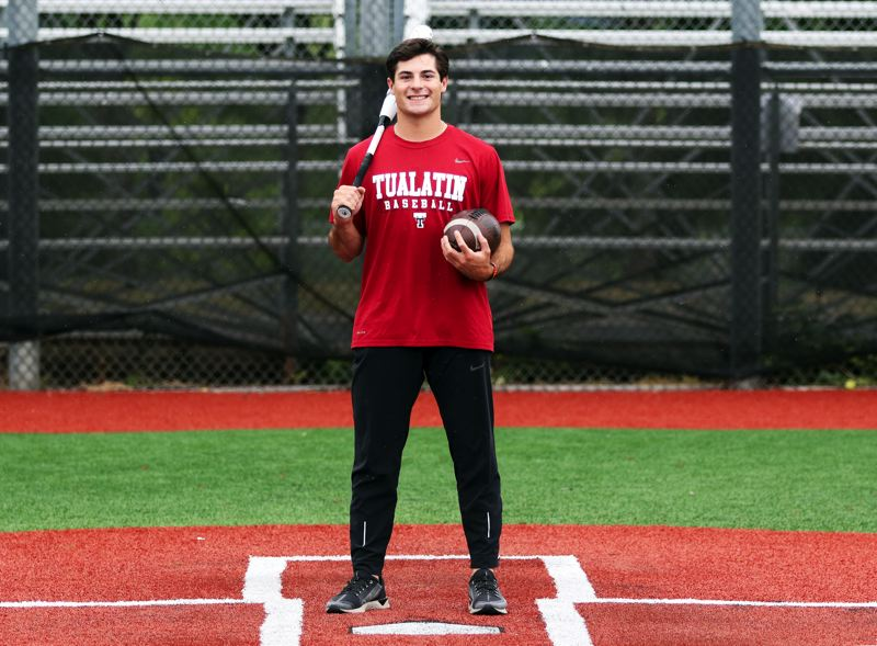 PMG PHOTO: DAN BROOD - Kyle Dernedde, a 2019 Tualatin High School graduate, was at home on the baseball field for the Timberwolves, earning All-Three Rivers League honors all four years.