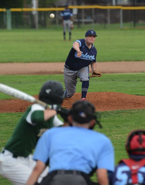 PMG PHOTO: DAVID BALL - Mt. Hood Select starter Alex Bates fires a pitch to the plate.