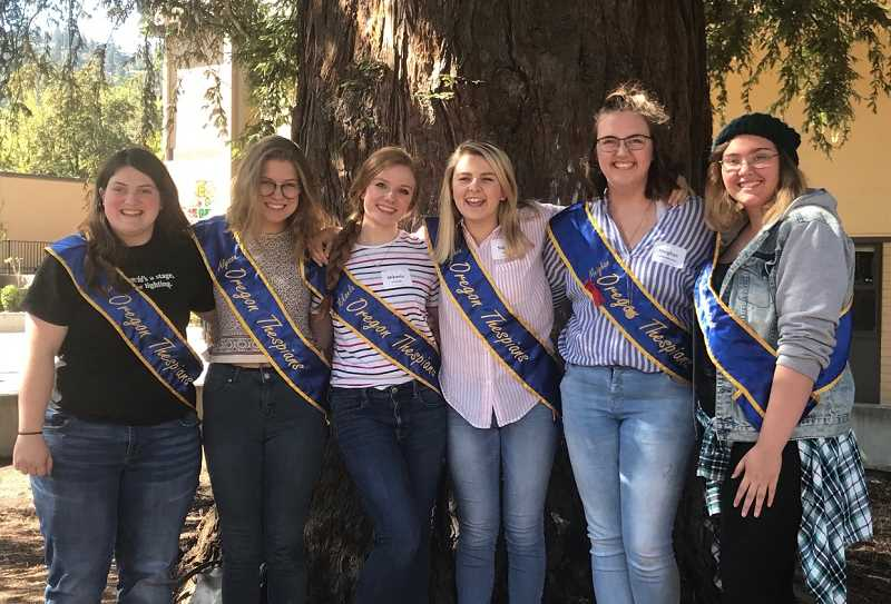 COURTESY PHOTO  - Mikaela Ochocki poses with other females on the state thespian board last year after they completed a leadership event.