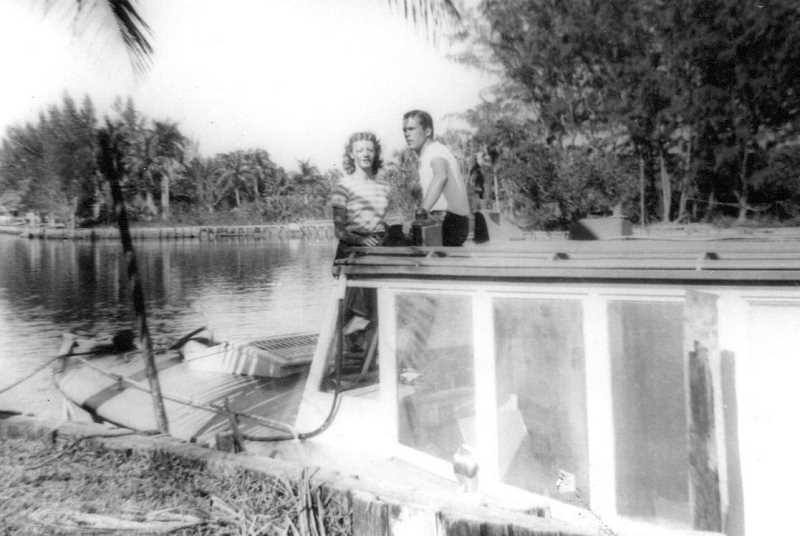 COURTESY PHOTO - Chloe Scott and her former husband Peter on the boat in the everglades.