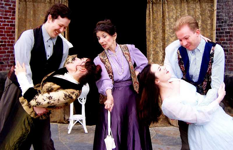 COURTESY PHOTO - Masque Alfresco will present The Importance of Being Earnest on the lawn in front of the iron foundry at George Rogers Park Friday, Saturday and Sunday evenings at 7 p.m. July 19 through Aug. 4. This is free, family entertainment. Pictured are from left Blaine Vincent, Fayra Teeters, Thomas McAuley, in front from left Heather Bach and Kaitlynn Baugh.
