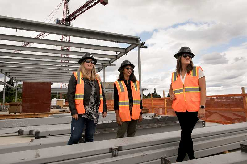 PMG PHOTO: JAIME VALDEZ - Taryn Hatchel (nee Haladay), Sonal Haladay and Carey Haladay stand atop the fourth floor of the new Beacon LO development at 3rd Street and B Avenue where the new luxury event space the three sisters in-law have created will open in March 2020.