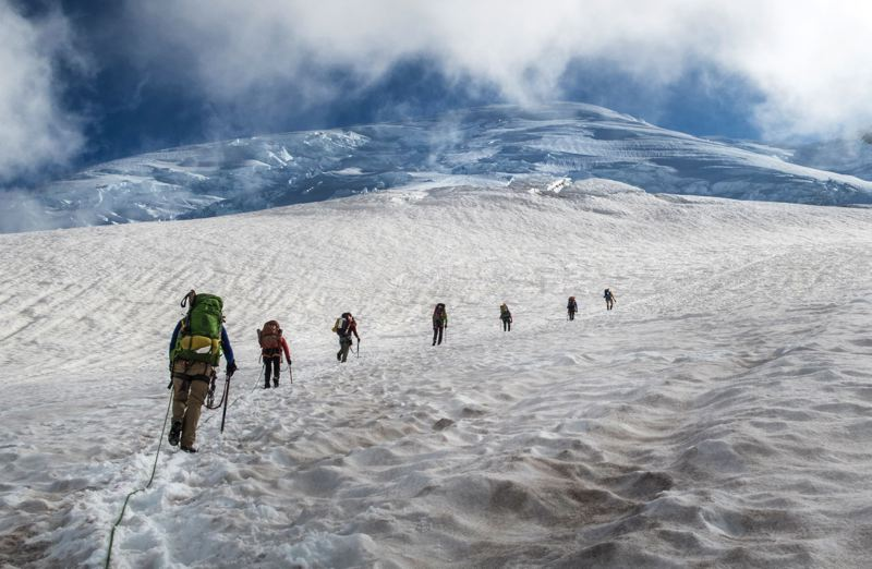 TRIBUNE PHOTO: JONATHAN HOUSE - The rite of passage to a membership in the Mazamas is a climb on a glacial peak. The mountaineering club marks its 125th anniversary on Friday, July 19, and, remarkably, most of the hikes/climbs have been documented throughout the years.