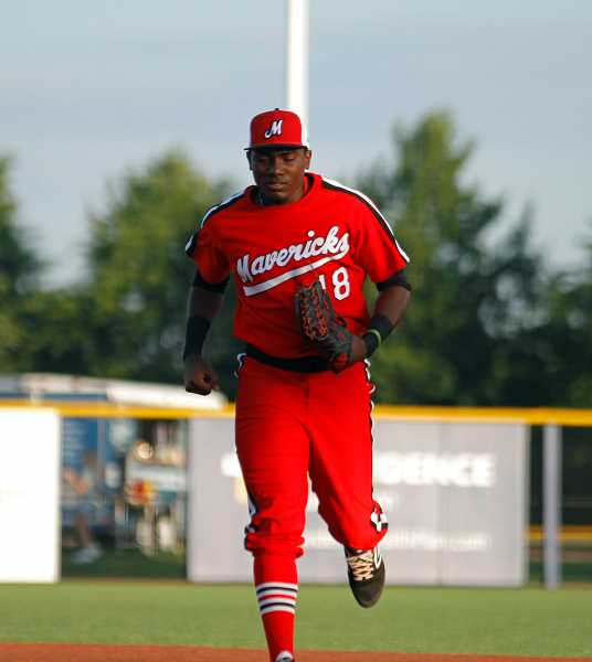 PMG PHOTO: WADE EVANSON - Hillsboro's Jesus Marriaga comes off the field during one of the Hops' 'Maverick Mondays.' Marriaga has 13 hits in his last eight games.