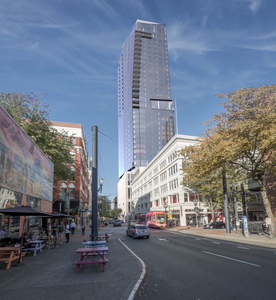 RENDERING COURTESY: GBD ARCHITECTS - Local developer Walter Bowen's BPM Group is building a 35-story retail-office-condo-five star hotel tower at Block 216 downtown.