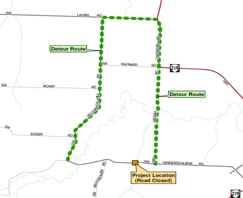 COURTESY MAP: WASHINGTON COUNTY - The green dotted line indicates the detour route around the closure of Southwest Vanderschuere Road, which is scheduled to begin Monday, July 22.