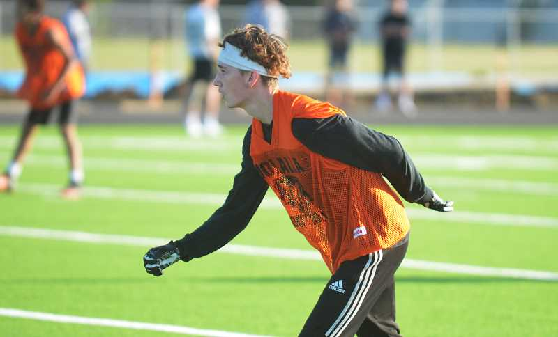 PMG PHOTO: DEREK WILEY - Molalla's Brad Pettit lines up at defensive back during 7-on-7 competition at Woodburn High School on Tuesday, July 16.