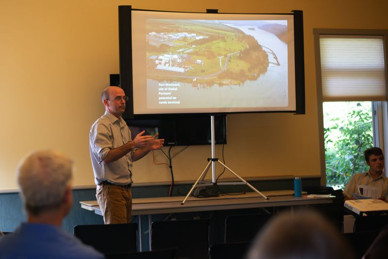 PMG PHOTO: ANNA DEL SAVIO - Dan Serres, Conservation Director of Columbia Riverkeeper, speaks at a presentation on July 11 at the Oregon State University Extension Office in St. Helens. Serres encouraged participants to contact DEQ to oppose Global's air quality permit renewal.