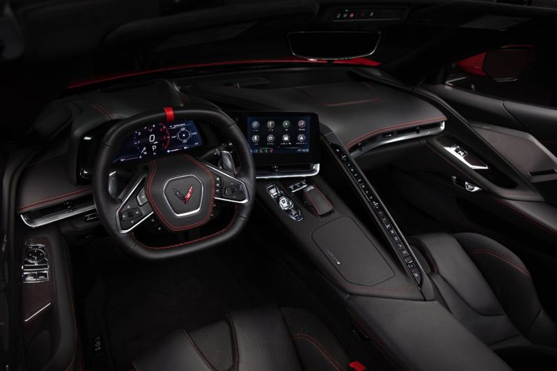COURTESY CHEVROLET - Inside the 2020 Corvette, the driver is surrounded by all the controls and technology. There's nothing for the passenger to do but look out the window and hold on.