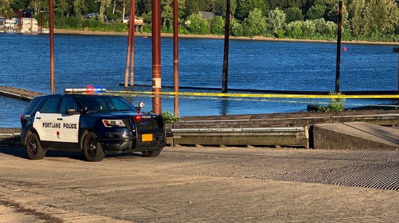 KOIN 6 NEWS - A Portland police vehicle at the scene of the accident in Willamette Park on Saturday afternoon.